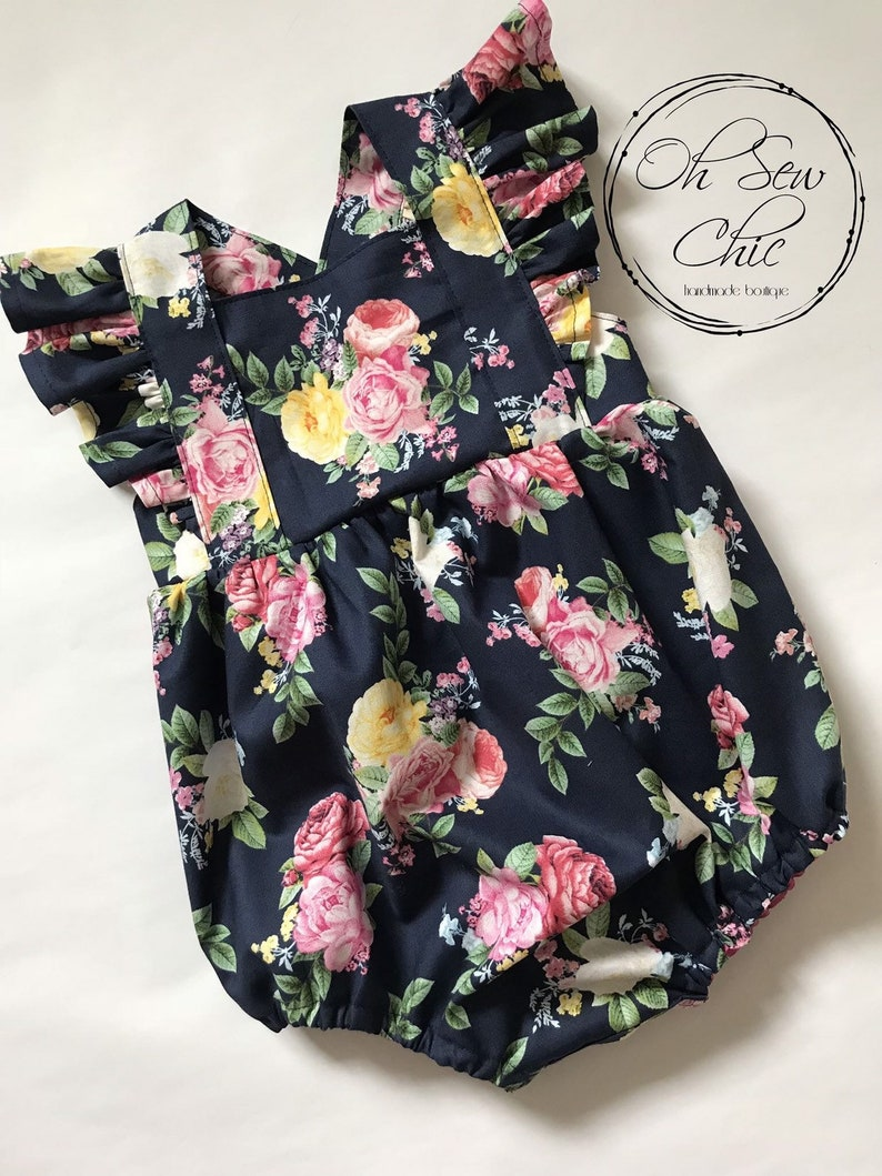 READY TO SHIP Navy Floral Flutter Bubble Romper Bodysuit image 0
