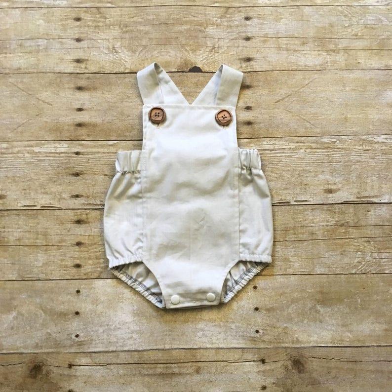 Cream Baby Boy Boho Romper Toddler Boy Romper Boy Bodysuit image 0