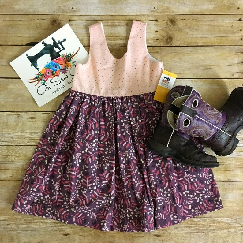 READY TO SHIP Floral Color Block Dress Pink and Purple Dress image 0