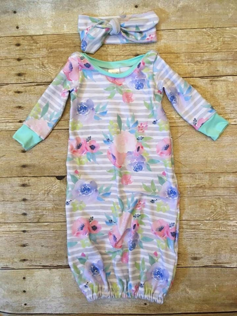 READY TO SHIP Floral Dressing Gown and Headband Set image 0