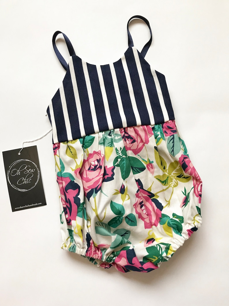 Ready to Ship Bubble Romper Stripe and Floral Baby Romper image 0