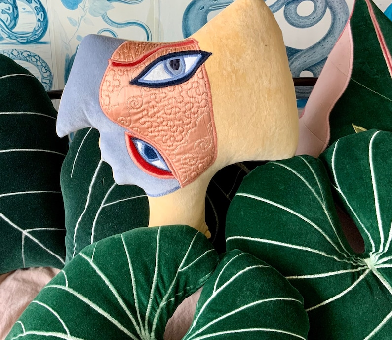 2 Talking heads cushions Picasso African inspired   handmade using vintage cotton velvet.Made in Brighton UK.
