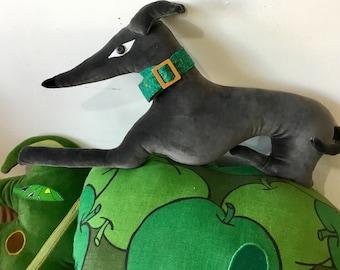 whippet /greyhound dog  shaped animal decorative pillow / cushion handmade using vintage soft grey velvet.