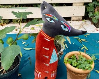 Wolf shaped Animal folk art plush toy Cushion /pillow handmade using orange/red vintage velvet fabrics and eco filling sustainable gift .