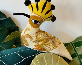 velvet Hoopoe bird shaped cushion /decorative pillow handmade using the vintage Sanderson and eco filling .sustainable gift.