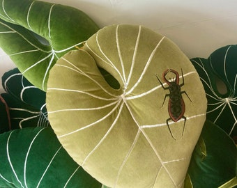 Velvet round form large Philodendron gloriosum leaf decorative pillow/cushion with appliqué stag beetle , Uk .eco stuffing .