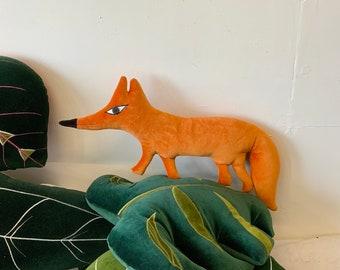 Fox cub shaped decorative pillow / Cushion .fantastic mr Fox ! handmade using Vintage cotton velvet /stuffed with eco filling ,sustainable