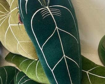 Queen Anthurium plant decorative pillow handmade in Brighton Uk , using cotton velvet and eco stuffing  .