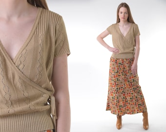 Vintage 60s 70s faux suede keyhole tunic ML mod 1970s collared babydoll blouse honey brown neutral billow sleeve 1960s homemade shirt