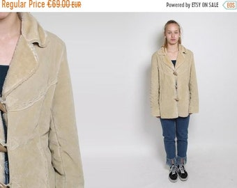 553d73506a83b 30% OFF SALE 1980s Duffle Jacket - 80s Vintage Sherpa Jacket Boho Cream  Toggle Coat Faux Suede Winter Jacket Bohemian Retro Fall Coat Tan Si
