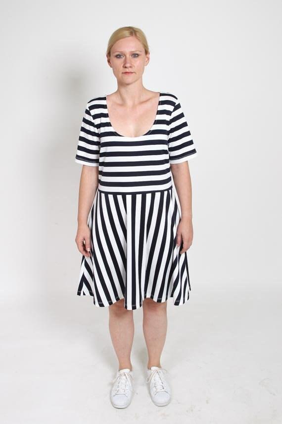 5a76d23a9d1 1980s Striped Dress Vintage 80s Navy Lolita Gown 90s Preppy