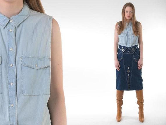 1980s Denim Vest 80s Vintage Jean Shirt Blue Frayed Biker Top Jean Jacket Cotton 90s Grunge Sleeveless Hipster Button Up Top Size M L