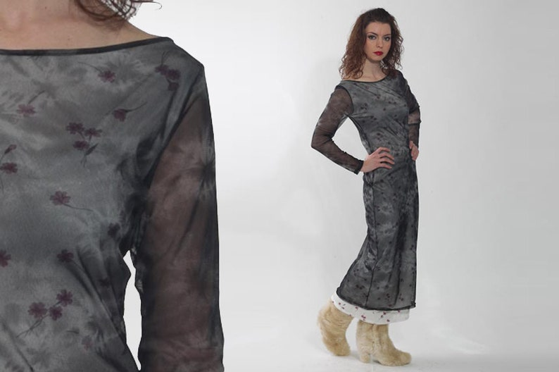 5568698dbb8 1990s Mesh Dress Vintage 90s Sheer Black Floral Print Goth
