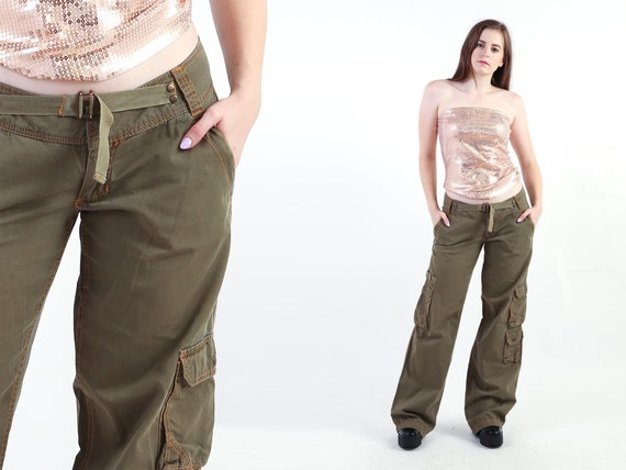2000s Olive Green Cargo Pants Vintage 00s Military
