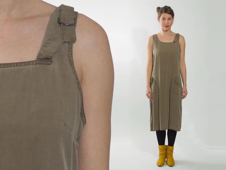47bf2d8cd21 1980s Utility Dress Vintage 90s Brown Loose Tent Straps