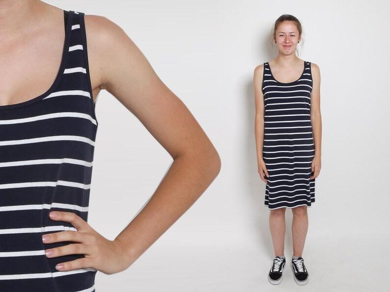 c790eae98de 1990s Striped Dress Vintage 90s Navy Shift Tank Dress Cotton