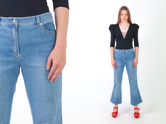 1990s ESCADA Low Rise Bell Bottom Jeans Blue Y2K F