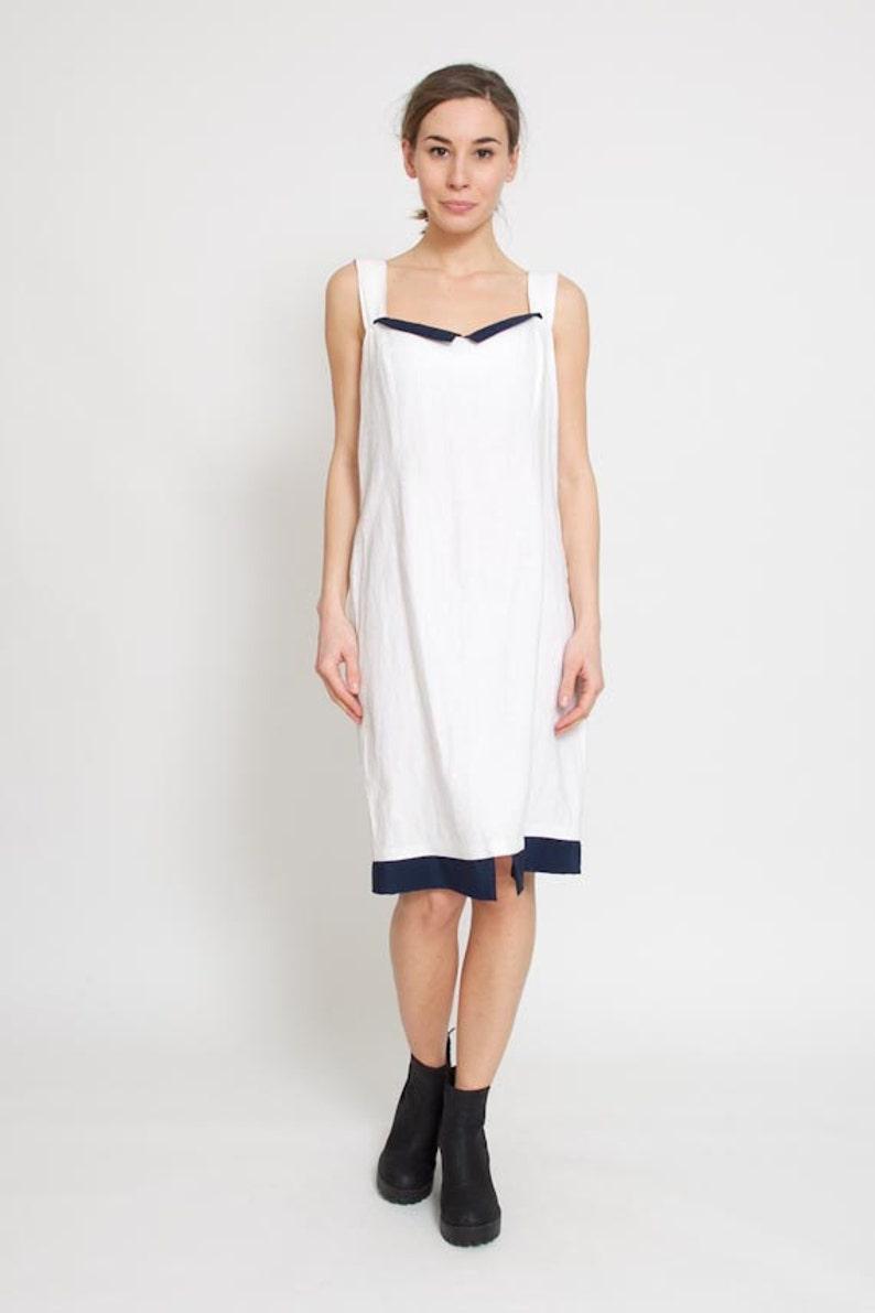 32d13831d49 1990s White Dress Vintage 90s Wiggle Dress Blue 60s Sheath