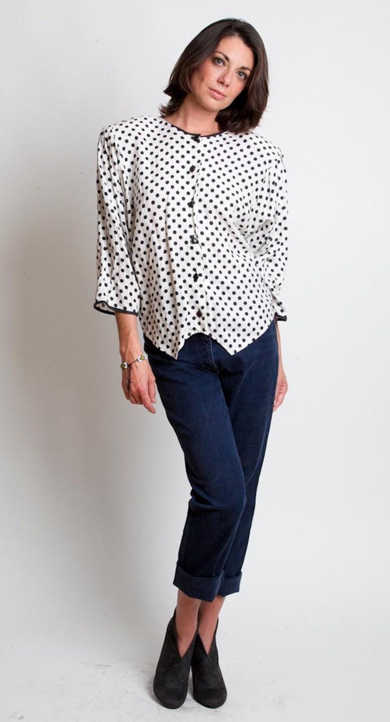7ce678a62d07f 1980s Polka Dot Blouse Vintage 80s White Slouchy Black Top