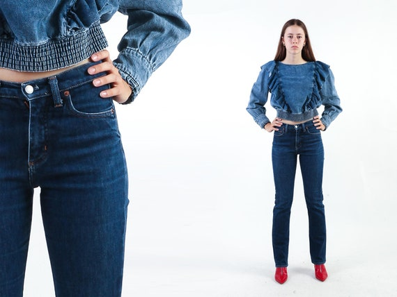 1990s BIG STAR Jeans High Waisted Jeans Dark Blue