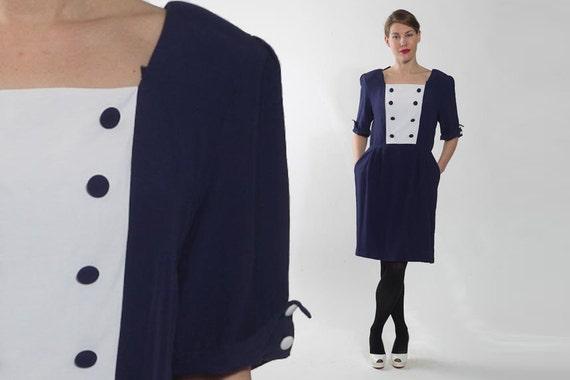 Blue and White Square Neck Princess Sleeve Sun Dress Vintage 80/'s