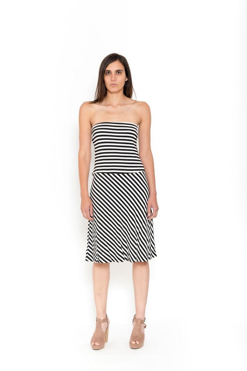 55afd3cf613 1990s Striped Dress Vintage 90s Black And White Sundress 80s