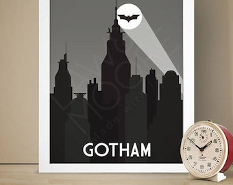 Gotham Batman Travel Print, Travel poster, Movie poster, Retro movie art, Minimalist poster, Print