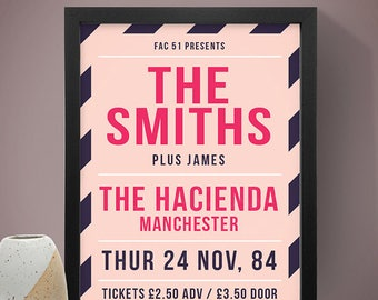 The Smiths - The Hacienda Manchester Inspired Gig Poster, Concert Poster, Music Print