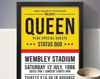 Queen - Wembley Stadium '86 Gig Poster, Concert Poster, Music Print