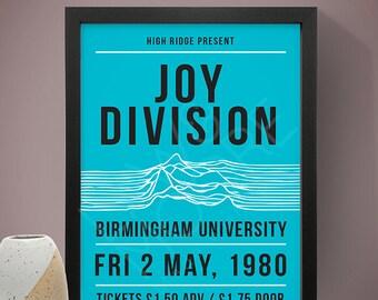 Joy Division - Birmingham University Inspired Gig Poster, Concert Poster, Music Print