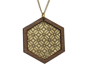 Leather inlay necklace - hexagon
