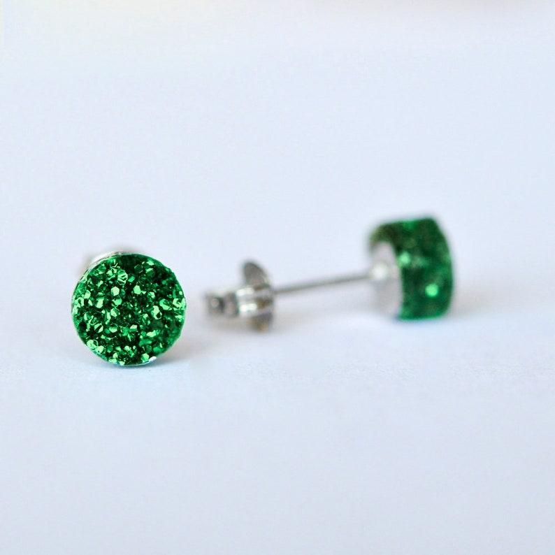 7b0666b3b Grass Green Glitter Dot Perspex Stud Earrings | Etsy