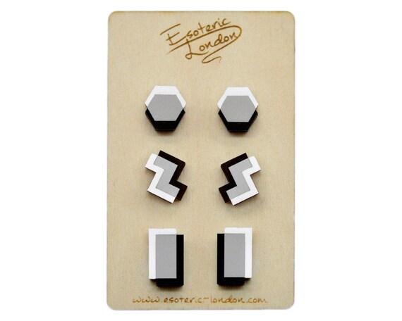 75aafd342 Geometric Bold Matte Earrings Set/ Acrylic Jewellery/ Matte | Etsy
