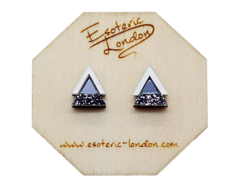 8ee417713 Geometric Stud Earrings/ Acrylic Jewellery/ Glittery Studs/ | Etsy