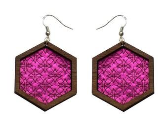 Leather inlay dangle earrings - hexagons