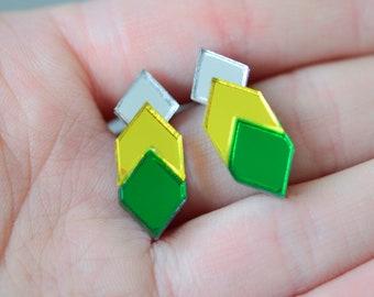 Mirror Perspex Geometric Stud Earrings - Silver / Green / Yellow
