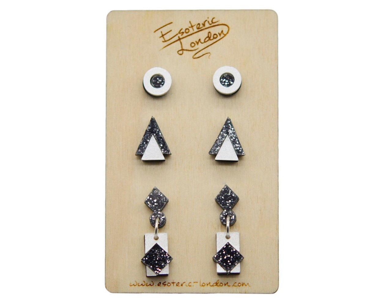 6ffaf3463 Geometric Shimmer & Sparkle Earrings Set/ Acrylic Jewellery/ | Etsy