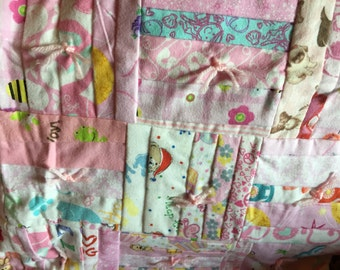 Small Pink Flannel Baby Quilt - Backside is Teapots & Tea Cups on White Background