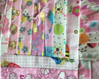 Pink Flannel Baby Quilt - Backside is Teddy Bears, Blocks, Balls, etc.