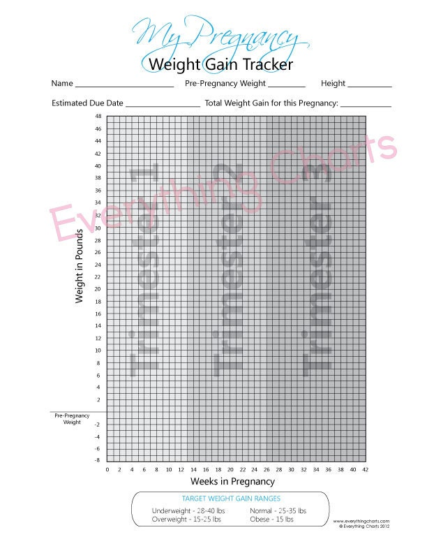 Pregnancy Weight Gain Chart Pdf Fileprintable Etsy