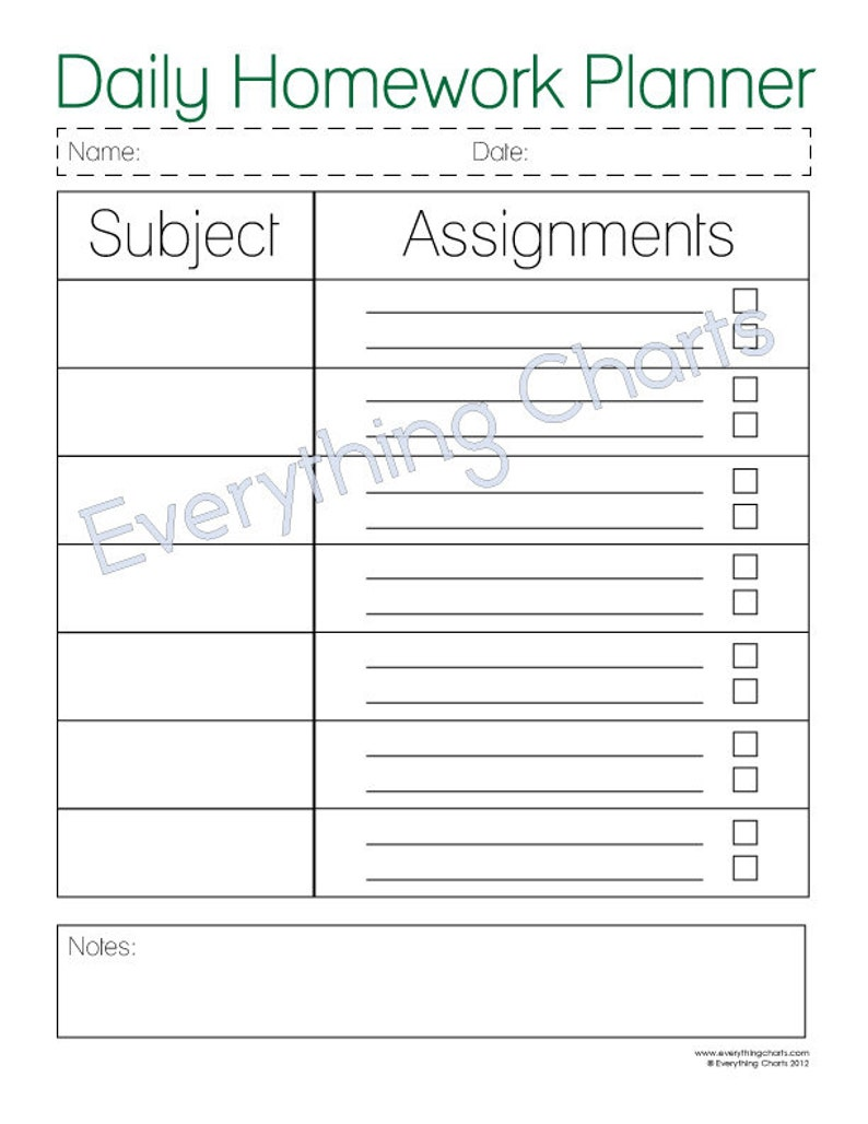 image relating to Printable Homework Planner titled Each day Research Planner - PDF Document/Printable
