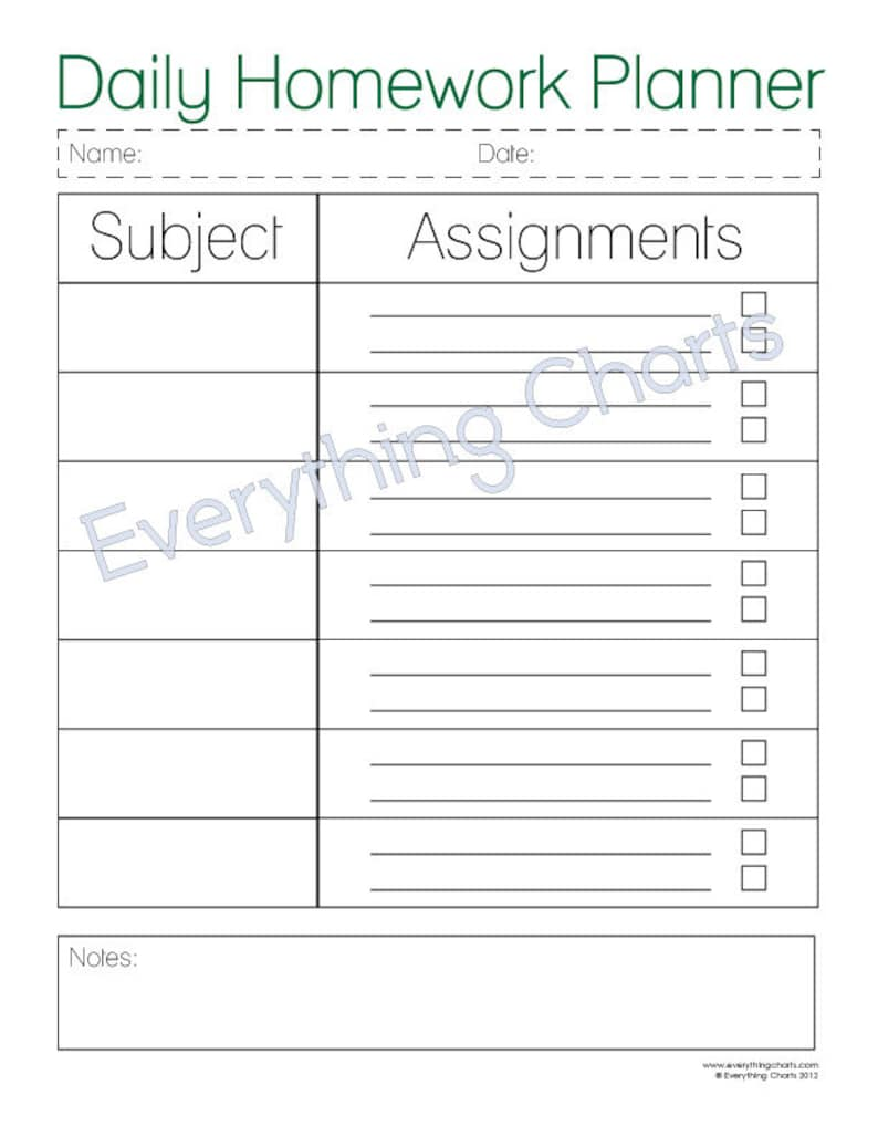 picture about Printable Homework Planner named Day-to-day Research Planner - PDF Document/Printable