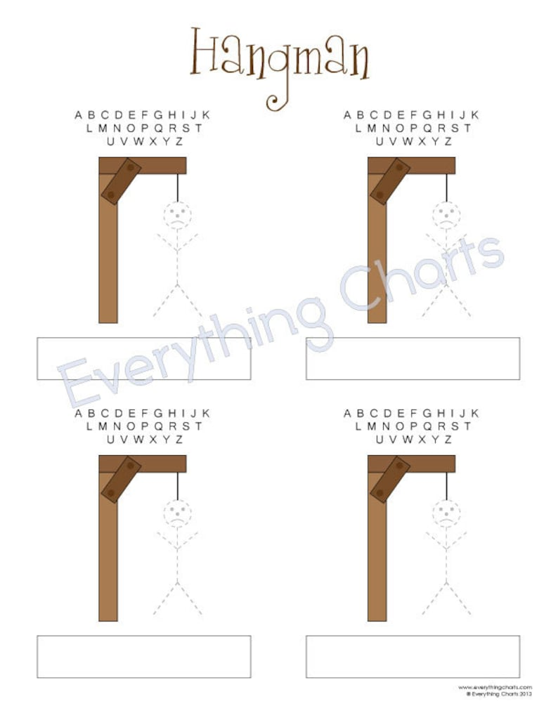 picture regarding Printable Hangman referred to as Hangman Activity - PDF Data files/Printables