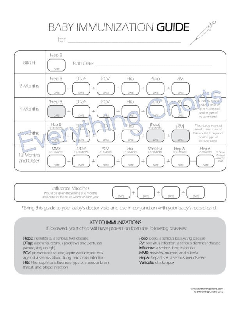 photo relating to Immunization Cards Printable named Kid Immunization Chart - PDF Record/Printable