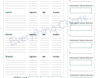 Diet and Exercise Journal - PDF File/Printable