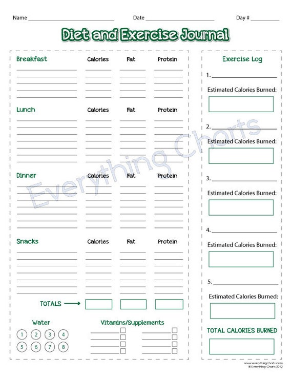 diet and exercise journal pdf file printable etsy