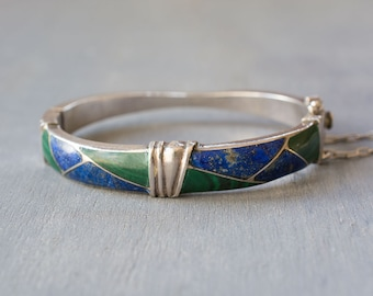 Silver Lapis Malachite Cuff Hinged Bracelet - Geometric Inlaid Stone Bangle - Vintage Sterling