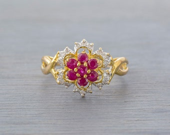 14k Gold Ruby Flower Ring - Vintage Two Tone Gold Ruby Diamond Ring - 1980s Retro Anniversary Gift Wife, Girlfriend - July Birthstone
