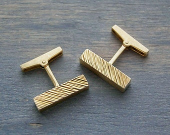 Vintage 18k Yellow Gold Modernist Bar Cufflinks - 1980s Retro Geometric Cuff Links - Men's Wedding, Groomsmen, Dad, Christmas Gift