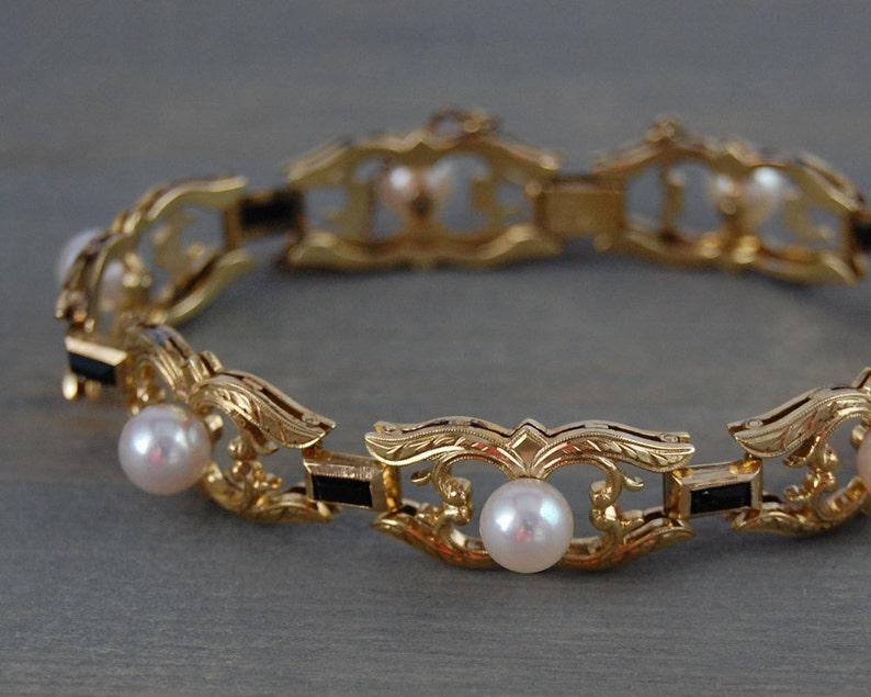 e25f4a099863 Brazalete de perlas de Mikimoto de Onyx Vintage 14k pulsera